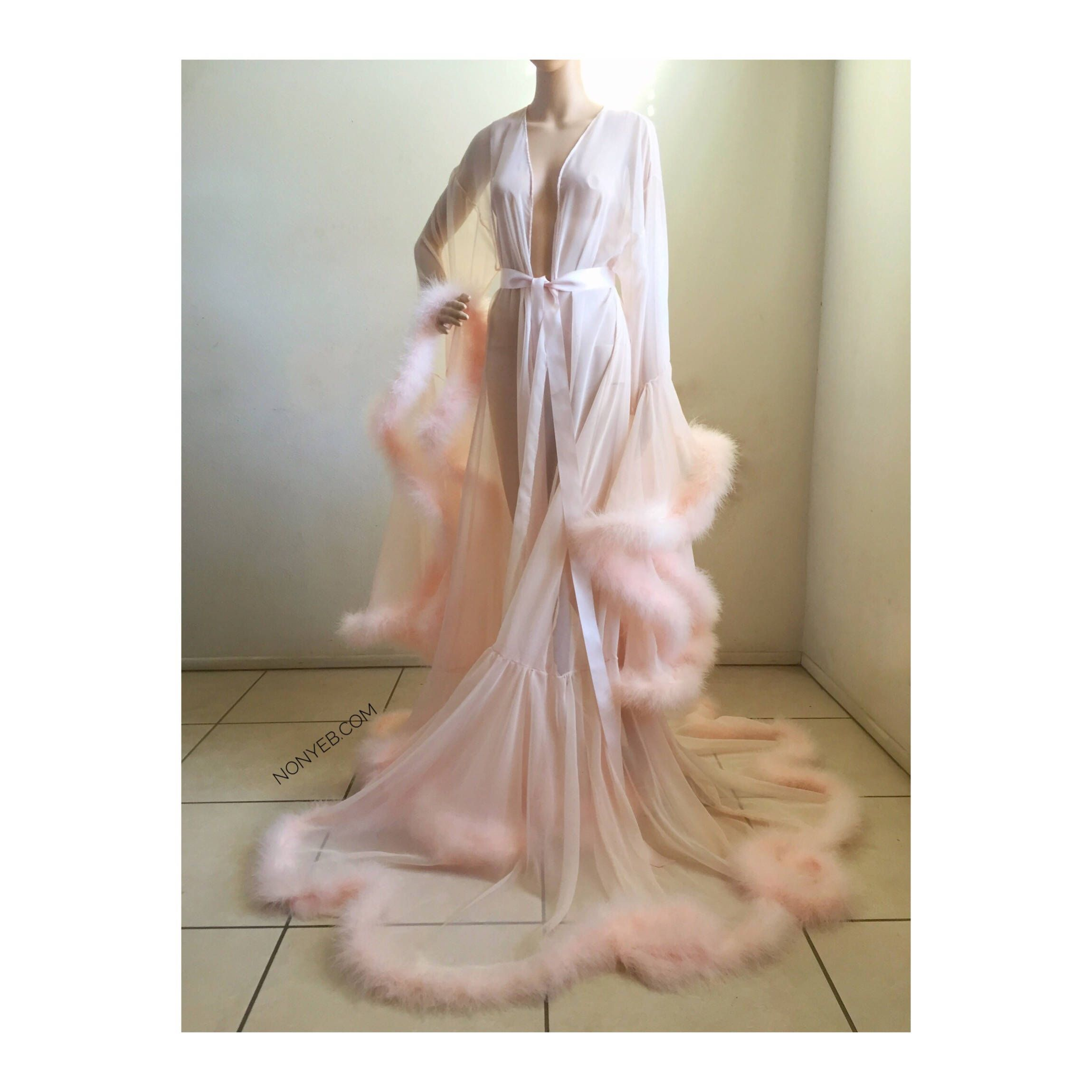 2f2ace1868 Luxury Sheer Fur Robe Lingerie. Feather trim robe with satin ties. High  quality lingerie