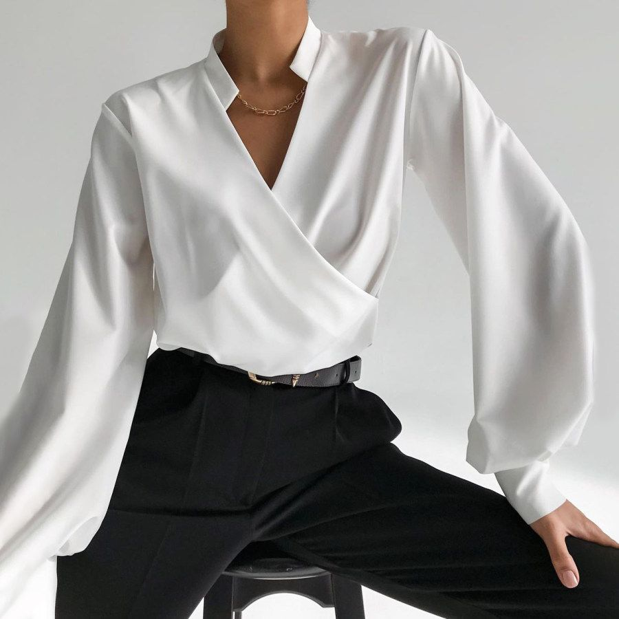 Minimalist Summer Blouse \u2022 Elegant White Blouse \u2022 Original White Designer Blouse \u2022 Unique Party Blouse \u2022 Kala Blouse \u2022 MarsiyBell MB