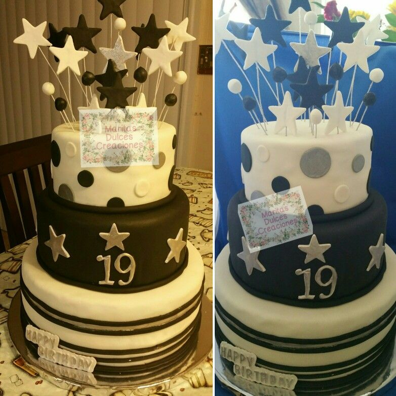 19th Birthday Cake Stars Topper Cake Black And White With Silver