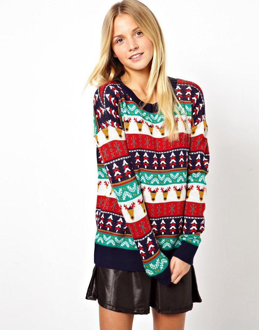 ASOS ASOS Holiday Pattern Sweater at ASOS (con imágenes