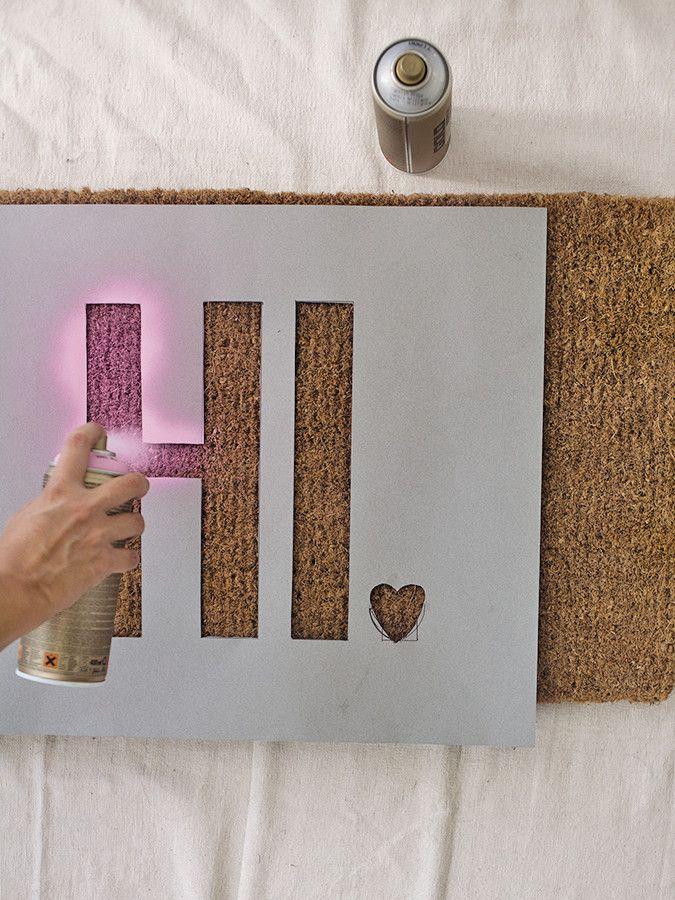 D I Y Doormat With A Message Door Mat Diy Diy Door Diy Spray Paint