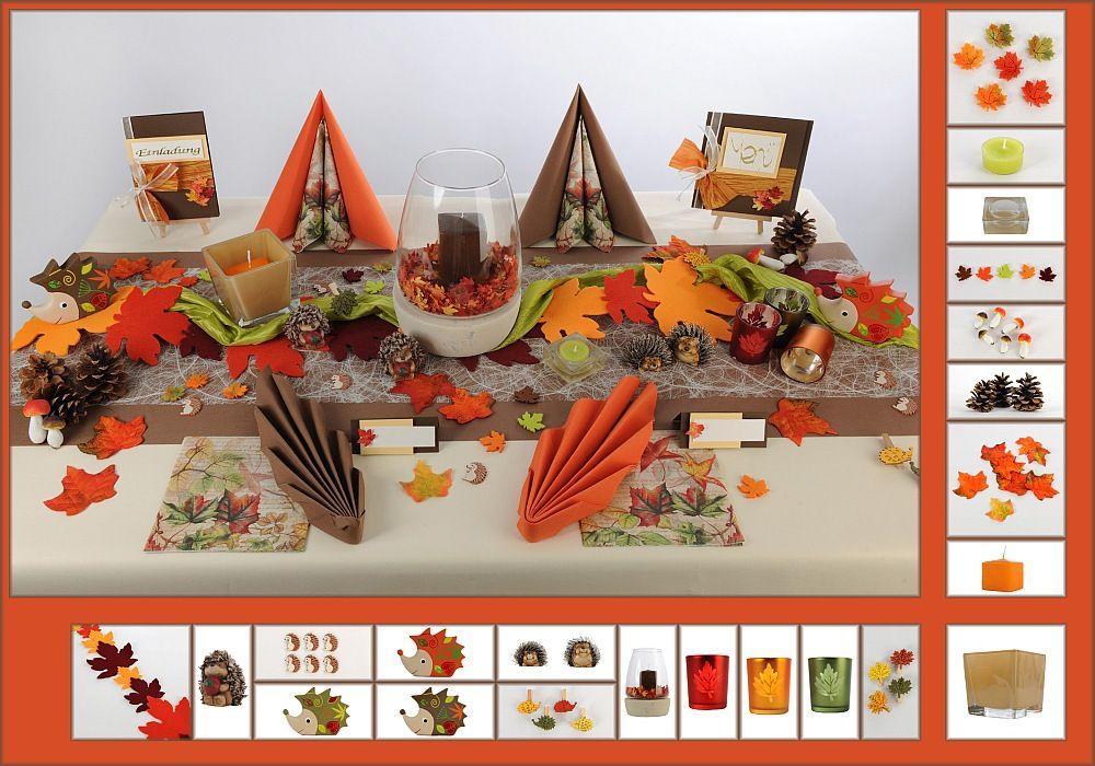 Tischdeko Herbst 9 In Braun Orange Als Mustertisch Tafeldeko De