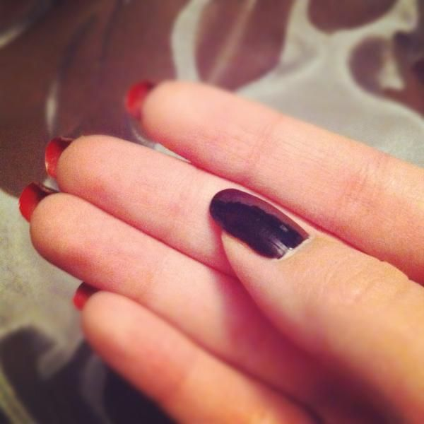 My Christian Louboutin inspired nails. OPI Black Onyx, with a very ...