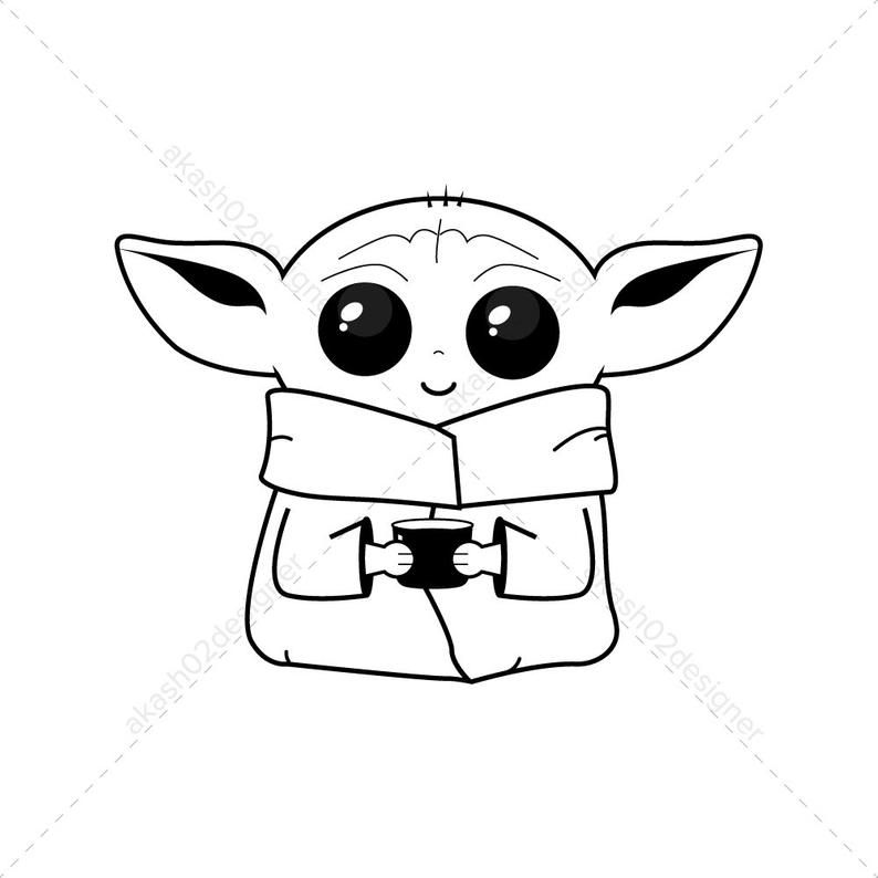 2 Super Cute Baby Yoda Color Svg Png Jpeg Ai Eps Editable Digital File Download Vector Cricut Clipart Disney Star Wars Green Color V8 In 2021 Cute Monsters Drawings Star Wars