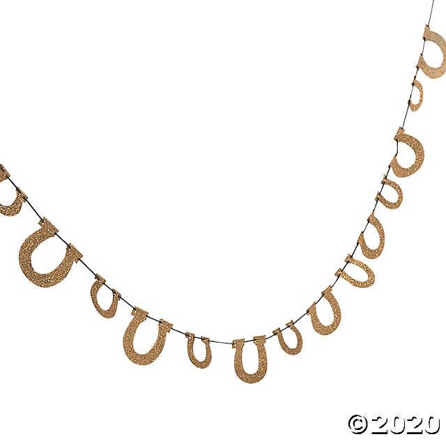 Oriental Christmas Parade 2020 Gold Glitter Horseshoe Garland | Oriental Trading in 2020 | Derby