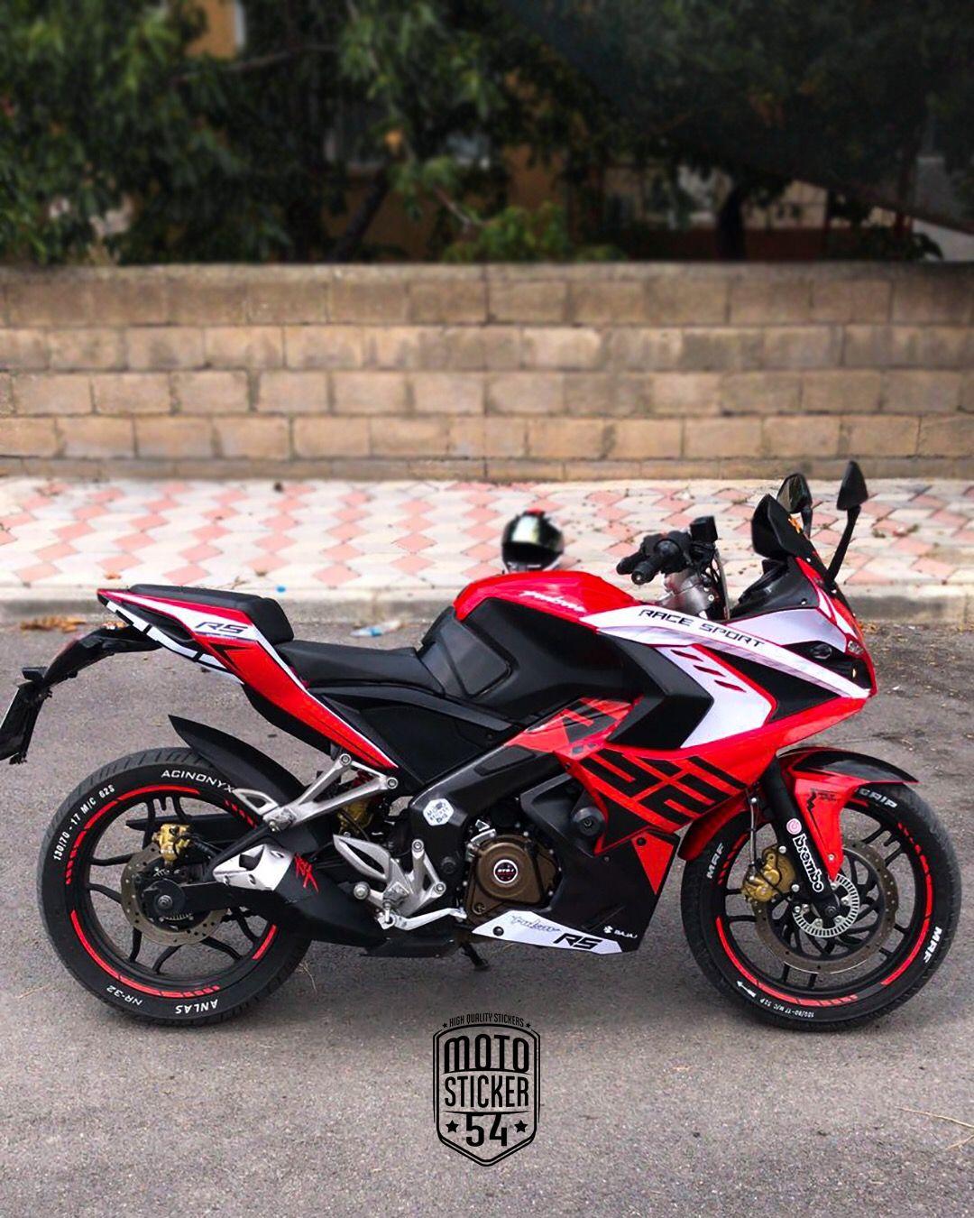 Bajaj Pulsar Rs200 Custom Design Red Sticker Kit Pulsar Red Sticker Bike Photography