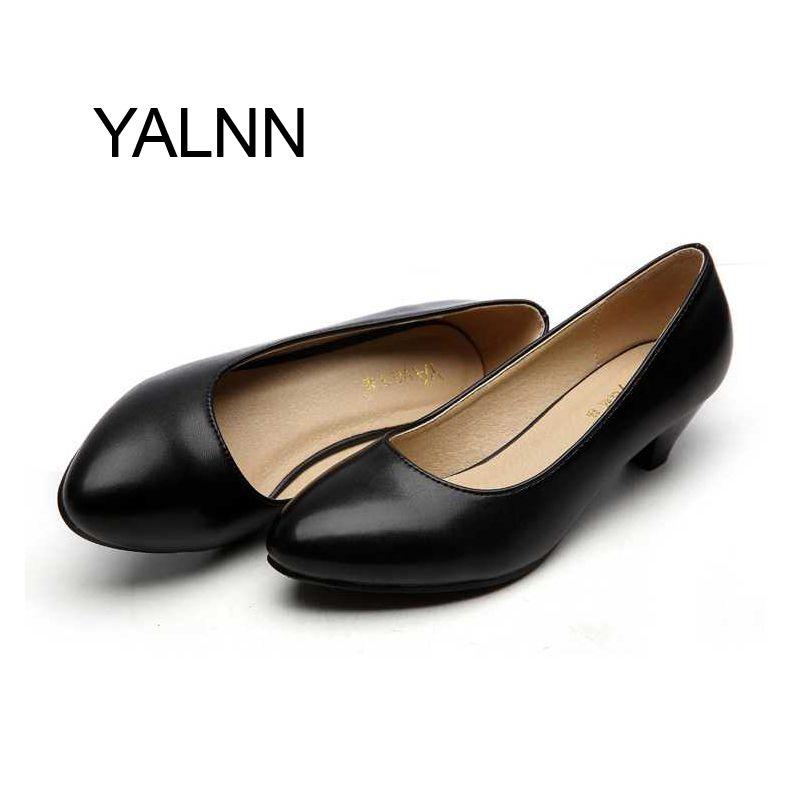 Fashion Black 3CM High Heels Pump Mature Women Shoes Dress Pointed ...