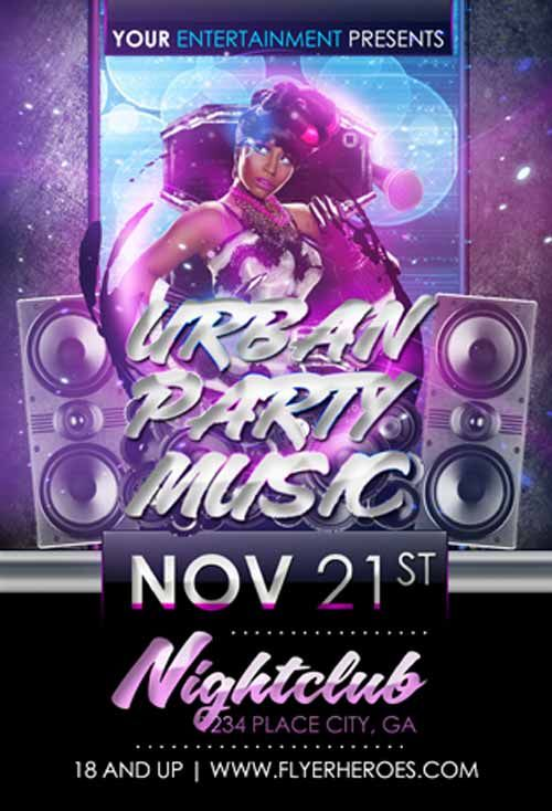 Urban Party Music Free Flyer Template - http\/\/ffflyer\/urban - electro flyer