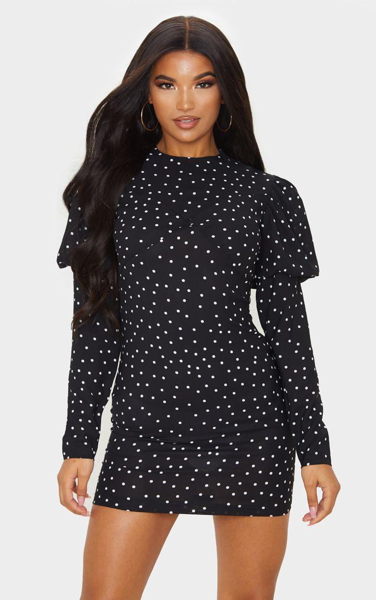 Black Short Sleeve Polka dot Maternity Blouse Black Solid Stretchy Cold Shoulder