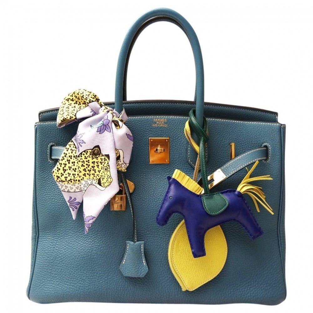 Birkin 35 leather handbag Hermès Blue in Leather 5167978