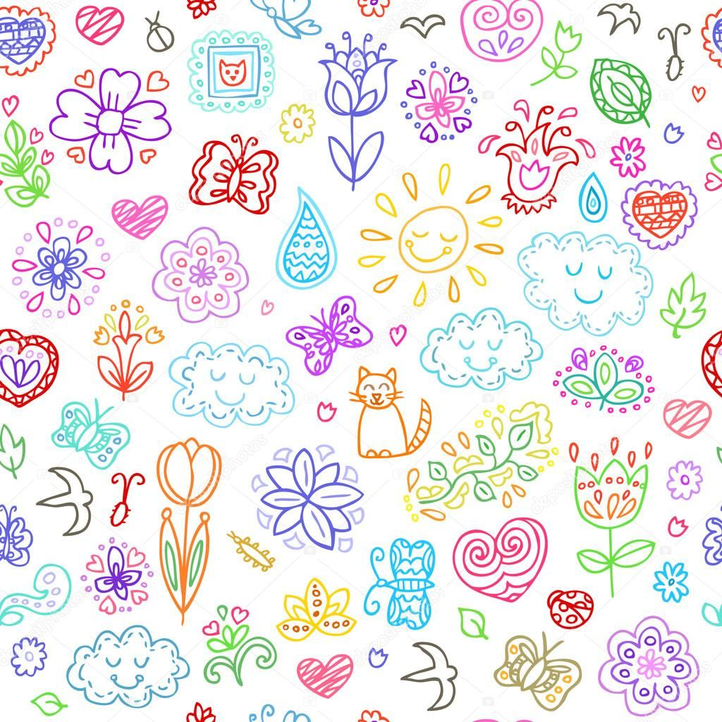 春 イラスト 背景 花のスケッチ 手描きの花 手のスケッチ