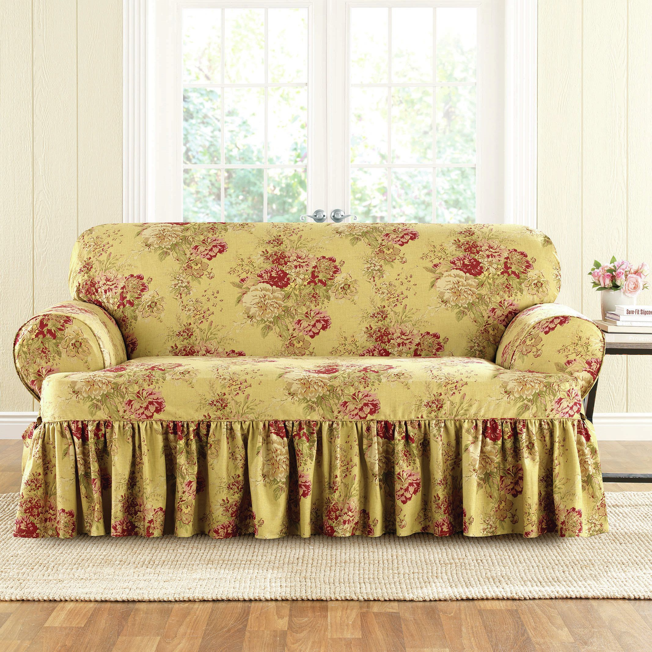 Sure Fit Ballad Bouquet Loveseat T Cushion Skirted