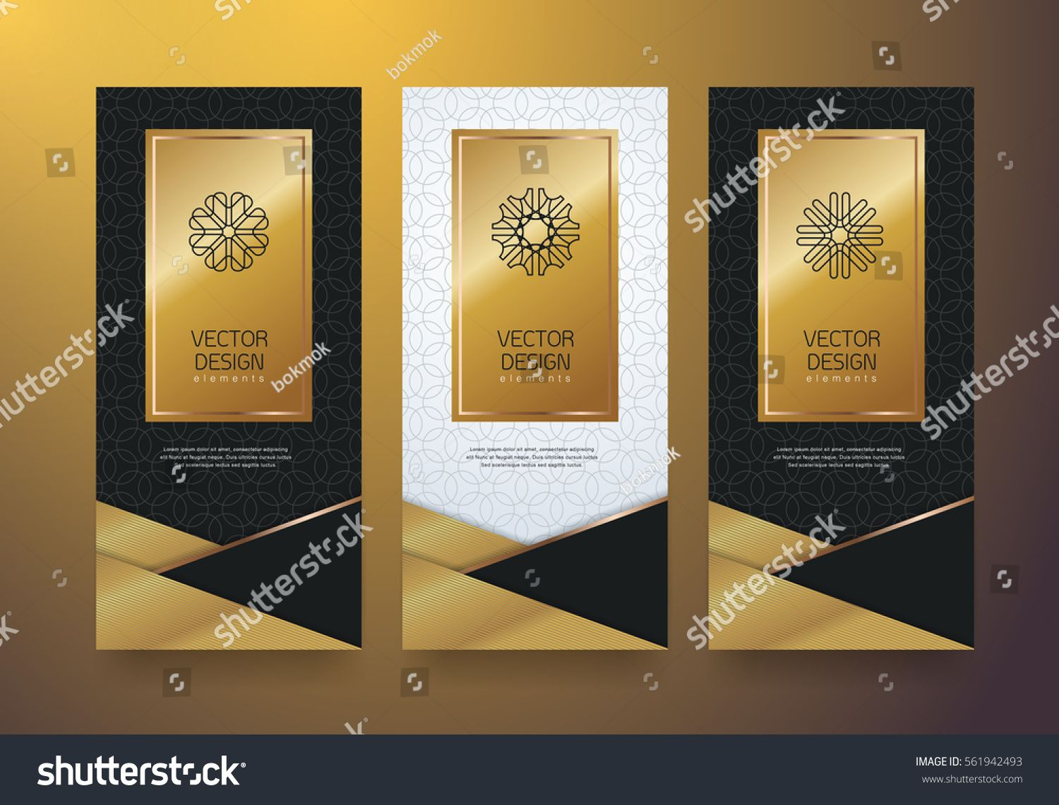 e5bf56fcbcb Vector set packaging templates black golden labels and frames for luxury  products in trendy linear style