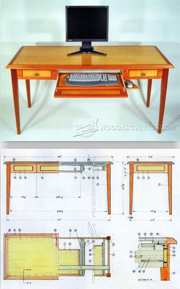 Computer desk plans furniture plans and projects woodarchivist