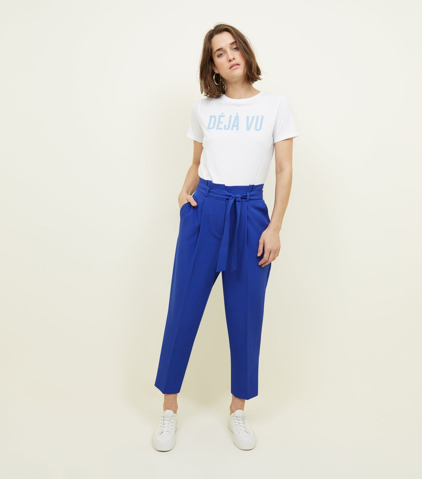 9a00f240f24 Bright Blue Paperbag Waist Tapered Trousers