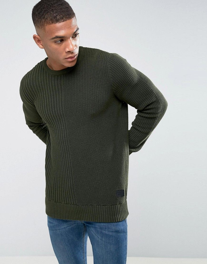 5c673d880d52 Jack & Jones Core Knitted Sweater with Mix Ribbed Detail - Green ...