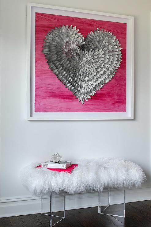 Hot Pink And Silver Heart Art Stands