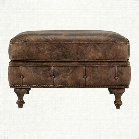 Wessex Leather Ottoman In Bronco Whiskey | Arhaus Furniture