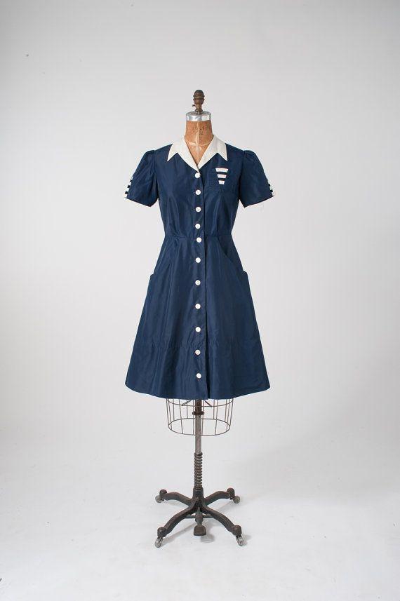 730f9cc541b6 1950s Waitress Uniform: Vintage Nylon Dress, Navy Blue Angelica ...