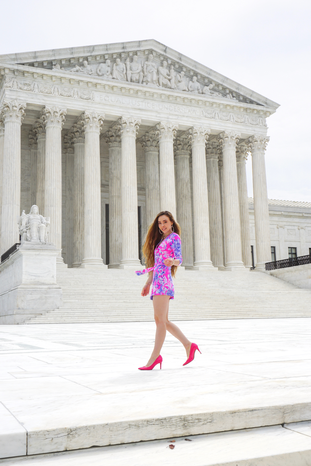 Supreme Court Lilly Pulitzer Romper First Day Of School Preppy Summer Outfits Hot Pink Romper Preppy Summer