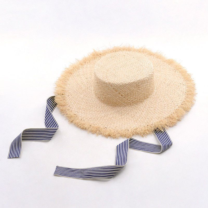 Boater Hat Flat Brim Wide Fray Edge Ribbon Tie Raffia Straw Summer Sun Cap  Women  Vintage  1920S c3fe4a37494