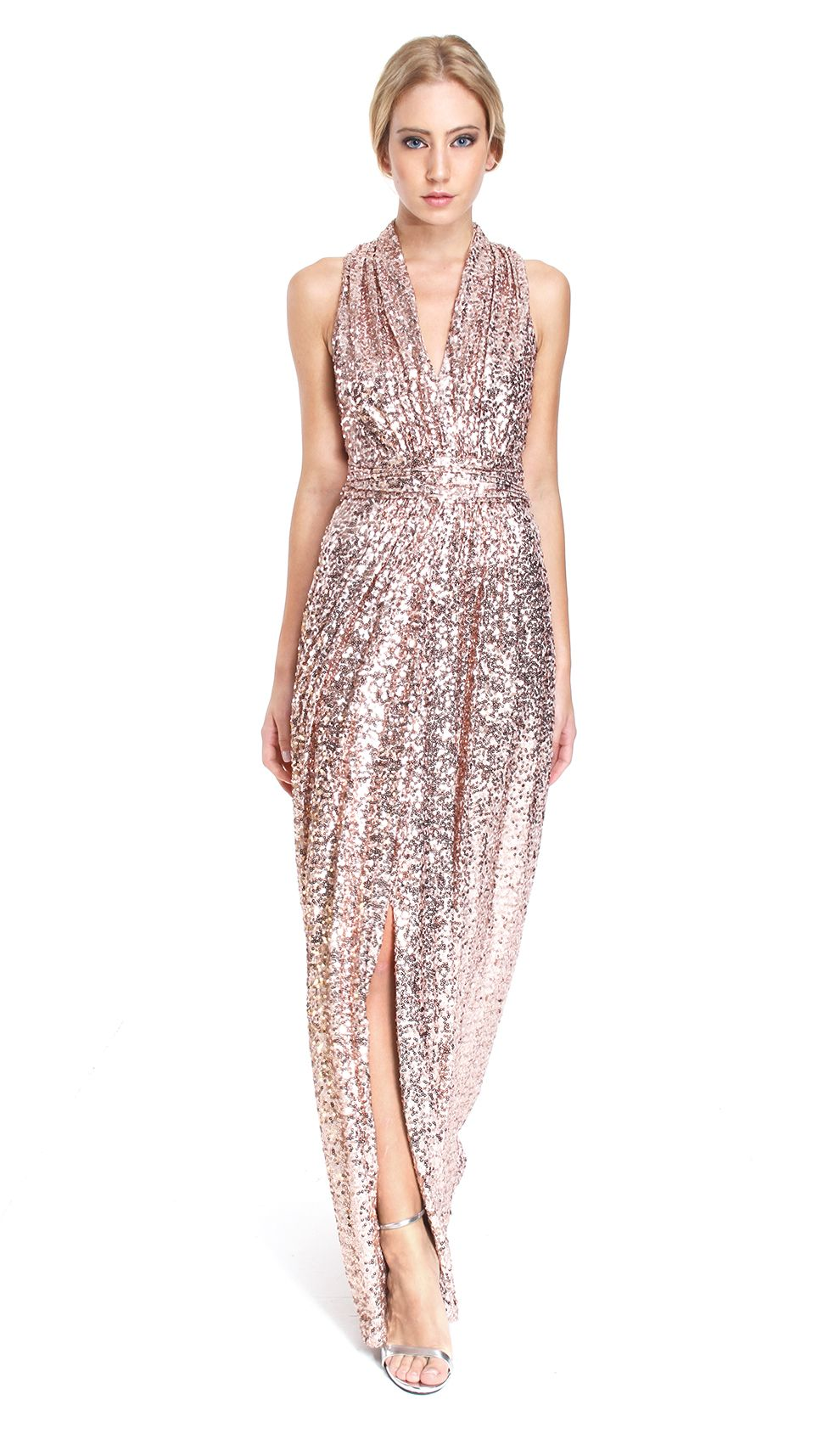 Pink Sequined Gown Hire - Badgley Mischka - Front | Pink closet ...