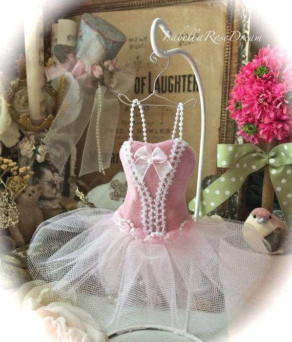Ballerina dress, paper Mache Doll Art Dress, miniature dress,  pink dress, wedding gift, decor, party decor, favor, girls room, Barbie doll