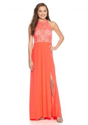 Morgan  Co  Lace and Sequin Halter Gown