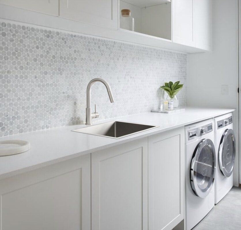 laundry sink with basket strainer
