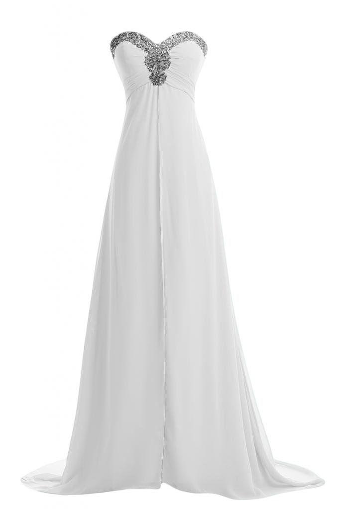 Gorgeous Bride 2014 Neu Herzform Empire Kristall Lang Chiffon ...