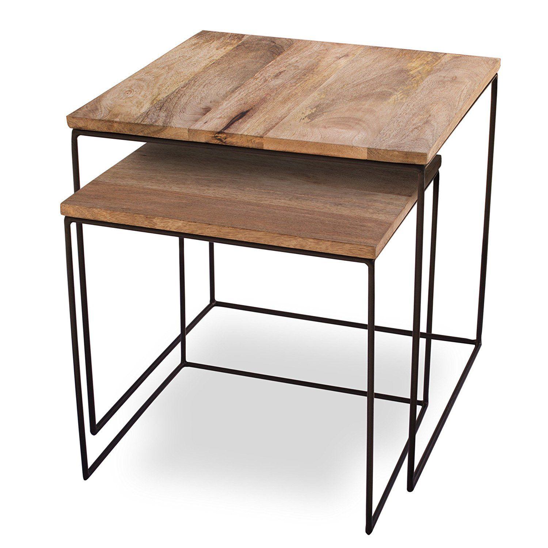Dekotipp Beistelltische Filigran Und Schon Perfekt Fur Die Naturliche Deko Holz Metall Kombi Tisch Ablag Beistelltisch 2er Set Design Tisch Beistelltische