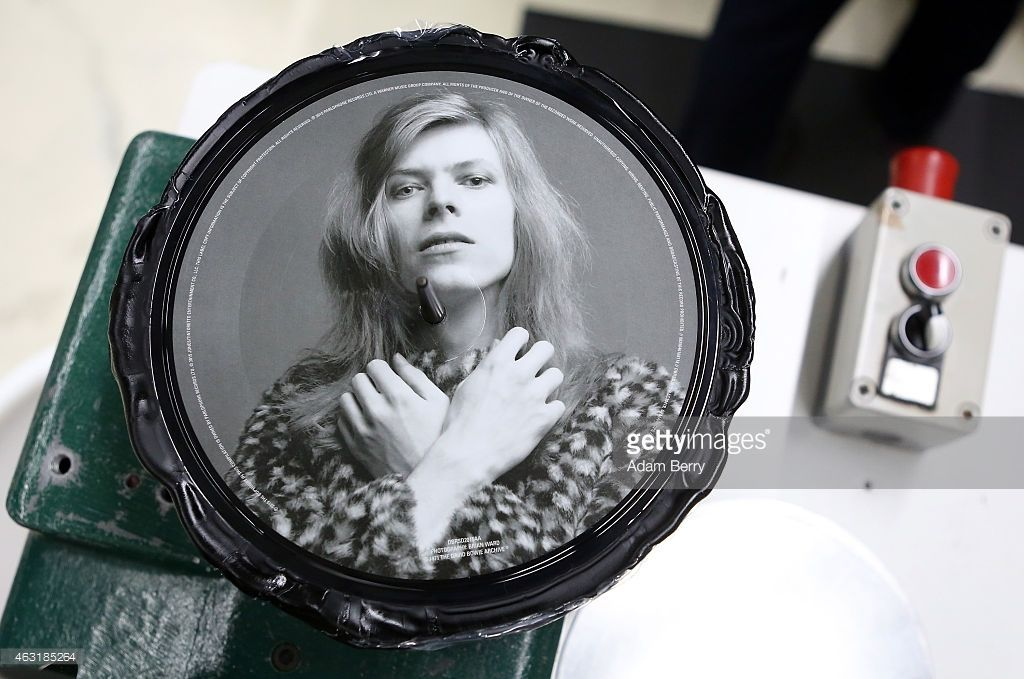 A freshlymade copy of a 7' picture disc of David Bowie's