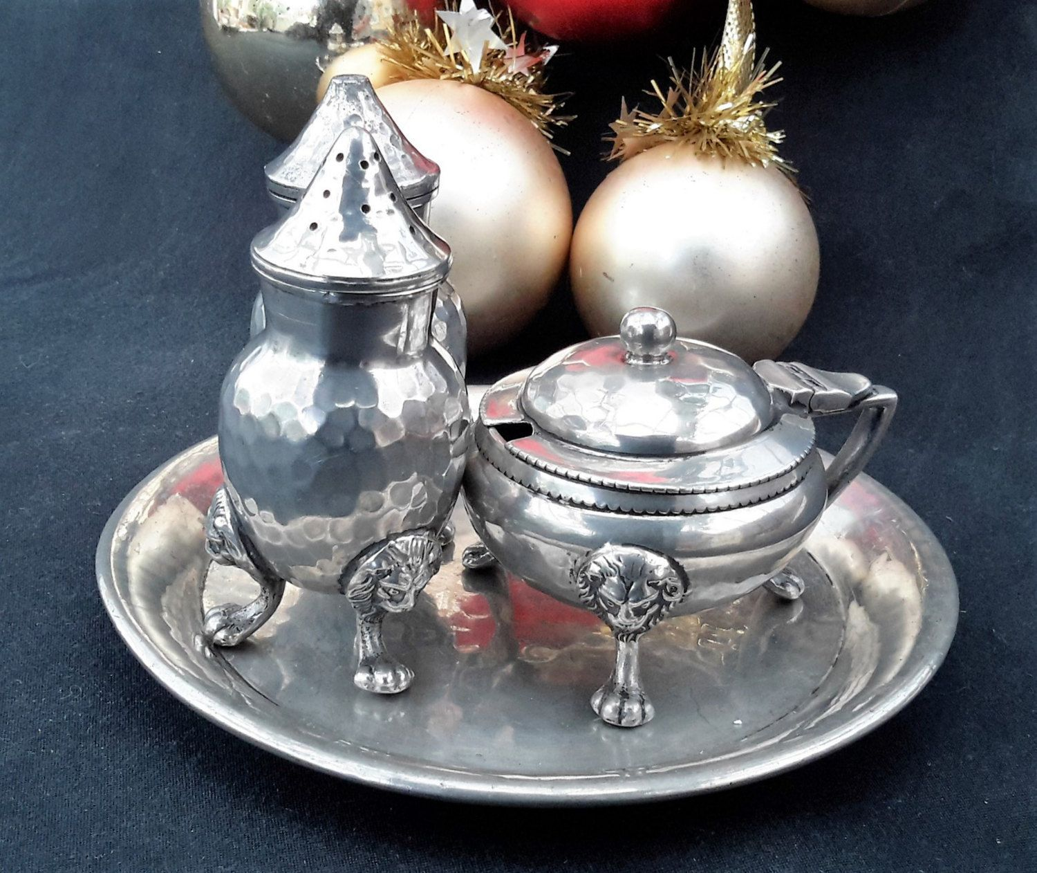 Vintage Pewter Cruet, Hand Hammered, Sheffield, Claw Footed Cruet, 'Reliable'…