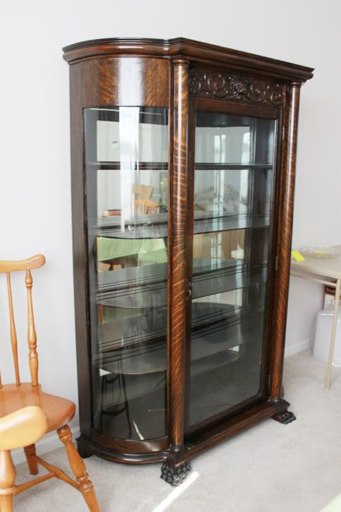 Antique China Cabinet w/Curved Glass - Faves from CT Estate Sales - Antique China Cabinet W/Curved Glass - Faves From CT Estate Sales