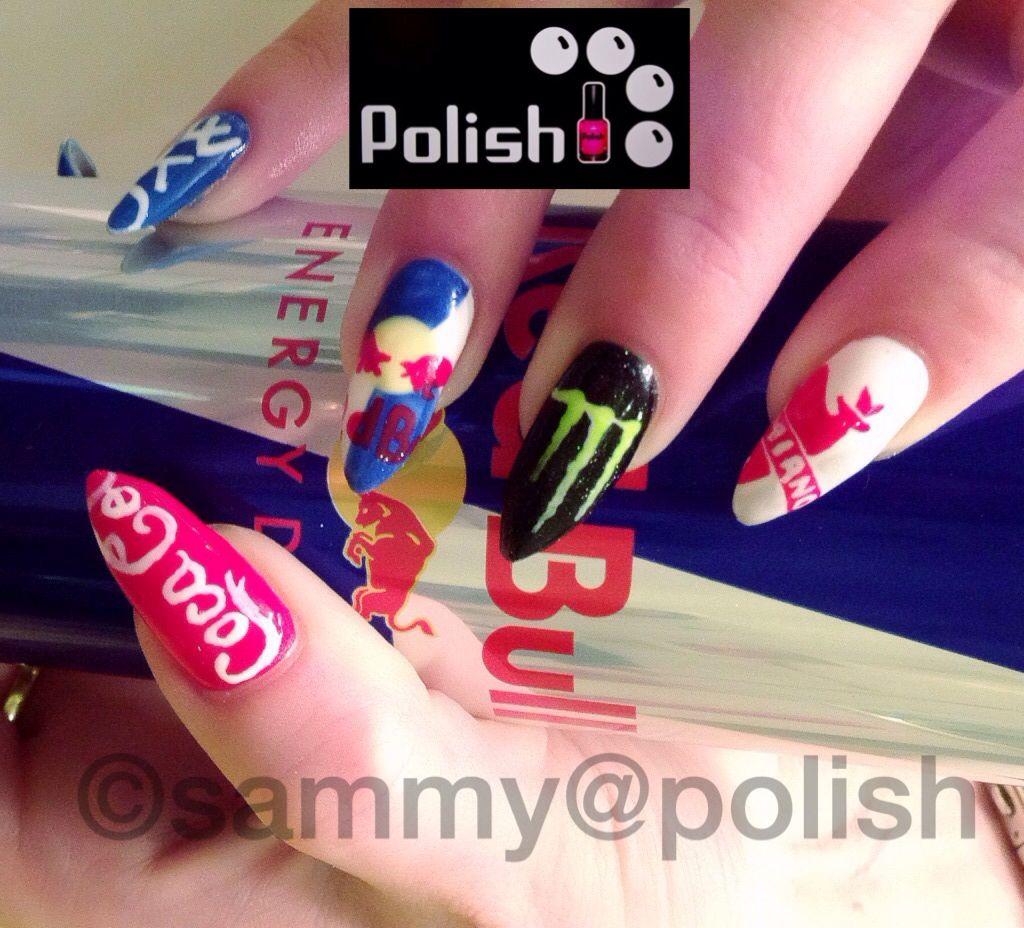 Logo Nail Art Drinks Red Bull Logos Nails Pinterest Red Bull