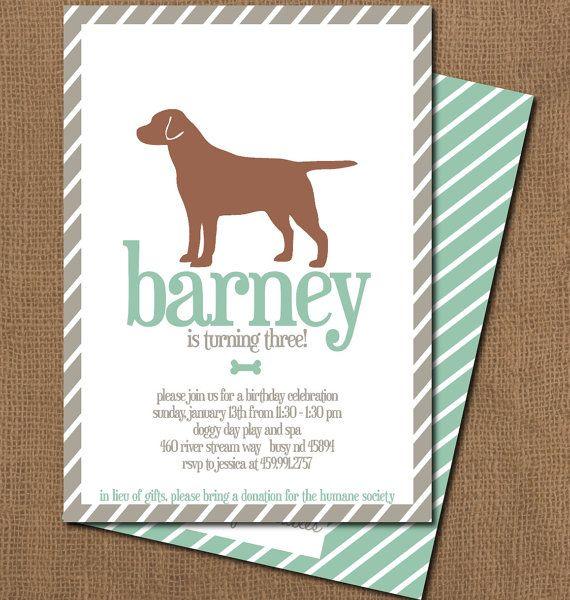 Printable Boy Dog Birthday Party Invitation 1200 Via Etsy Themed Parties