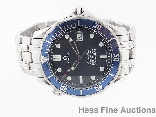 Nice Omega Seamaster Professional 300M Chronometer Blue Dial Date Mens Watch