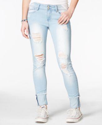 5fdfd2b403c Indigo Rein Juniors' Ripped Cuffed Medium Wash Skinny Jeans | Sweet ...