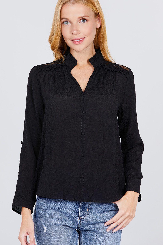 Imported S.M.L V-NECK BUTTON DOWN WOVEN TOP 60% Rayon 40% Polyester Black ACT V-neck Button Down Woven Top split