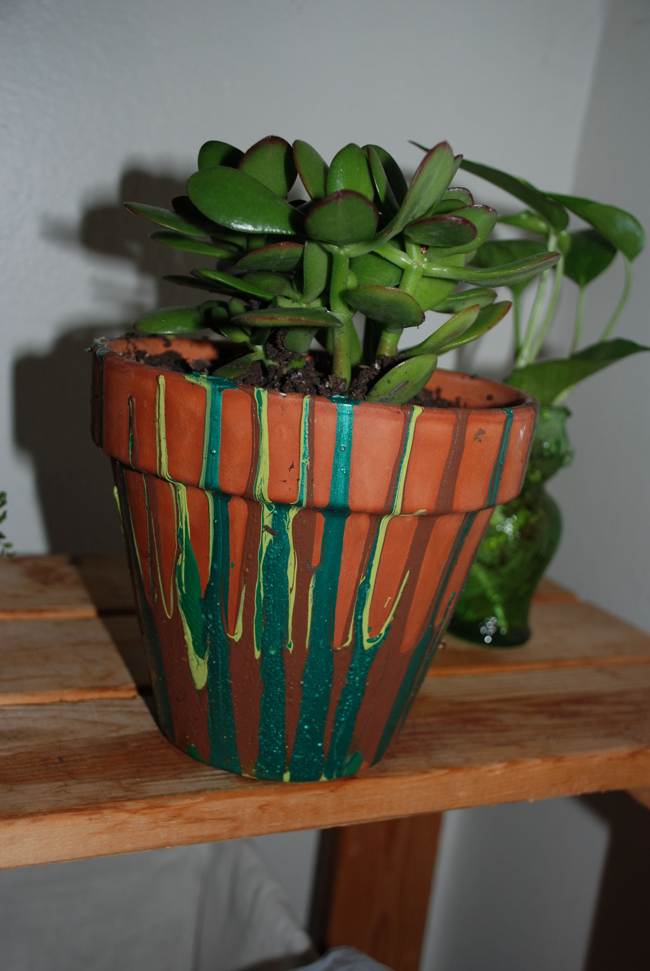 easy drip paint flower pot, created by me (kim) Flower