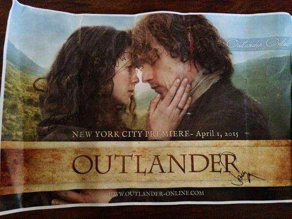 Outlander-Online @FeistyAngel34_ on twitter had one of our Outlander signs signed by Sam, Cait & Tobias