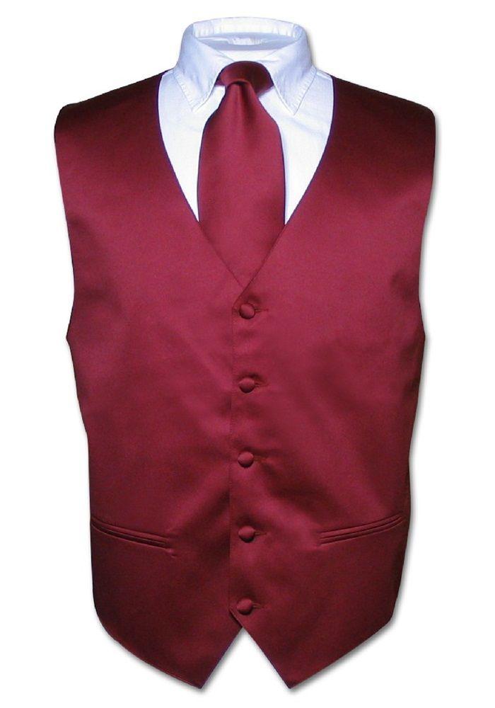 3413f5c4fc Men's Dress Vest & NeckTie Solid BURGUNDY Color Neck Tie Set for Suit or  Tuxedo
