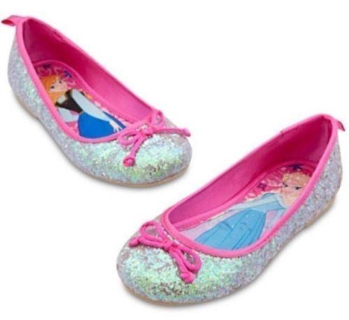 Disney Store Frozen Princess Elsa Anna Glitter Ballet Shoes Sz 9 Sold Out NWT!