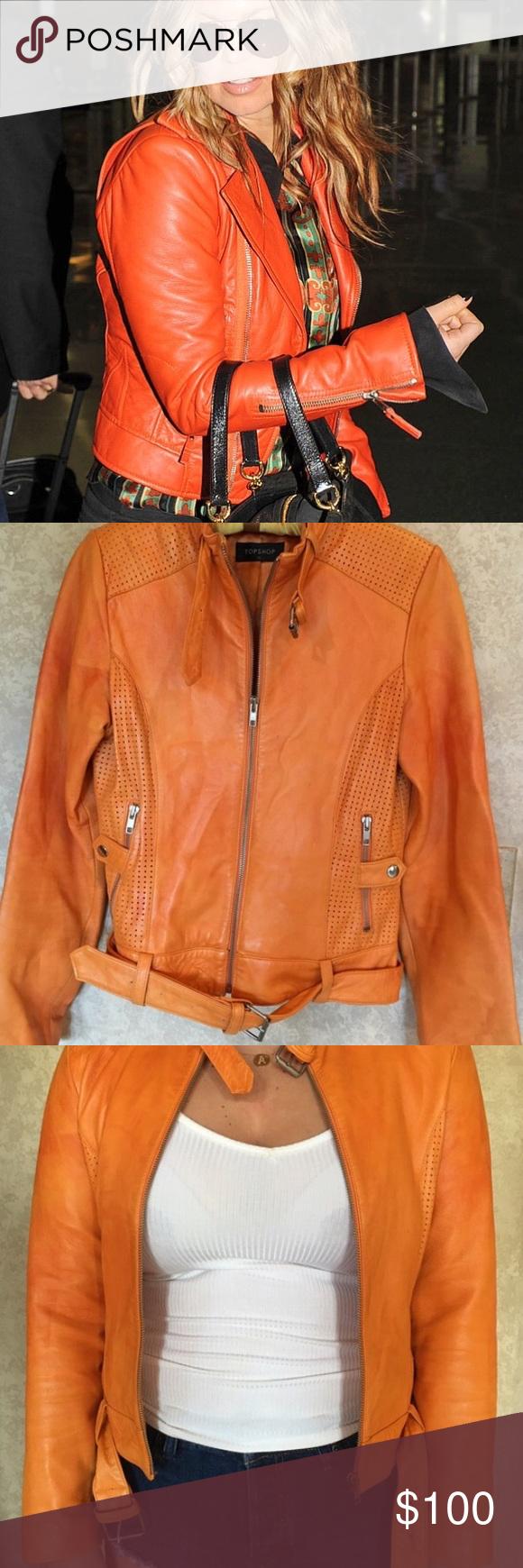 orange genuine leather jacket Leather jacket
