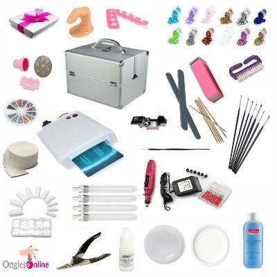 kit valise manucure complet faux ongles gel uv pictures to. Black Bedroom Furniture Sets. Home Design Ideas
