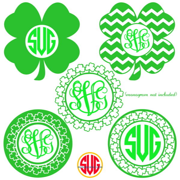 Shamrock Frames For Monograms Svg Dxf Eps Shamrock Monogram Monogram Svg Monogram