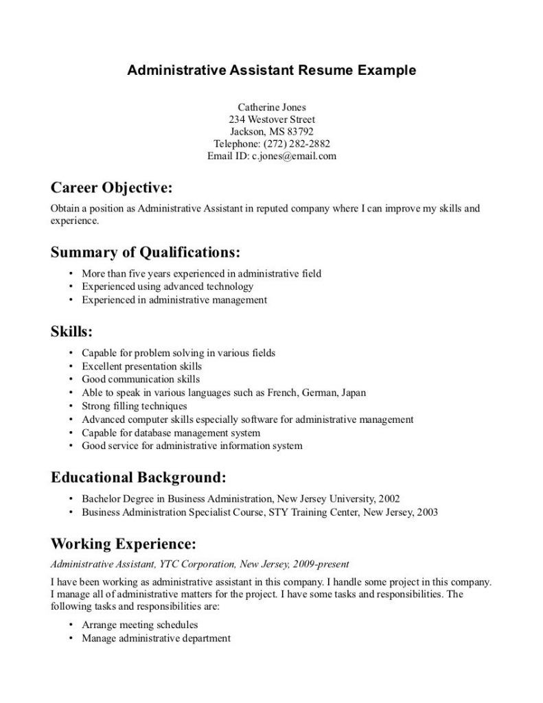 Administrative Assistant Resume Example For Career Objective With Summary Of Qualifications And Skills