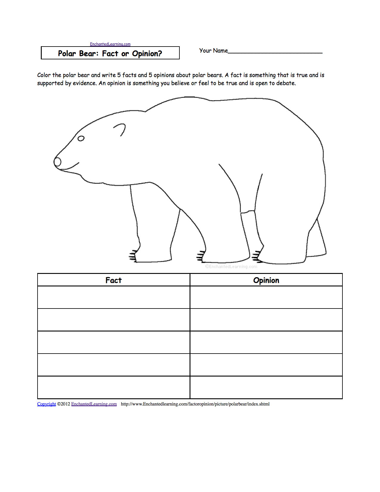 Week 16 Subject Polar Bears Facts And Opinions Worksheet