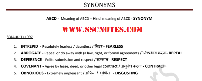 Synonyms Asked In Various Ssc Exams Previous Papers Updated Cgl 2017