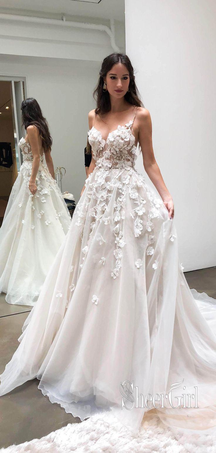 Spaghetti Strap Sweetheart Neck Beach Wedding Dresses 11D Appliqued